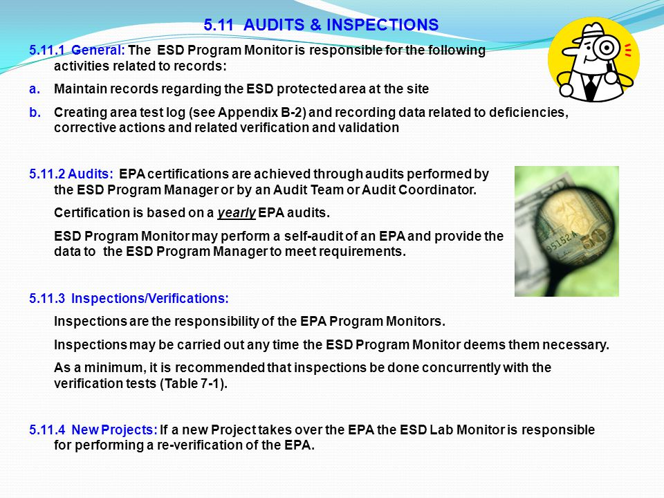 5.11 AUDITS & INSPECTIONS