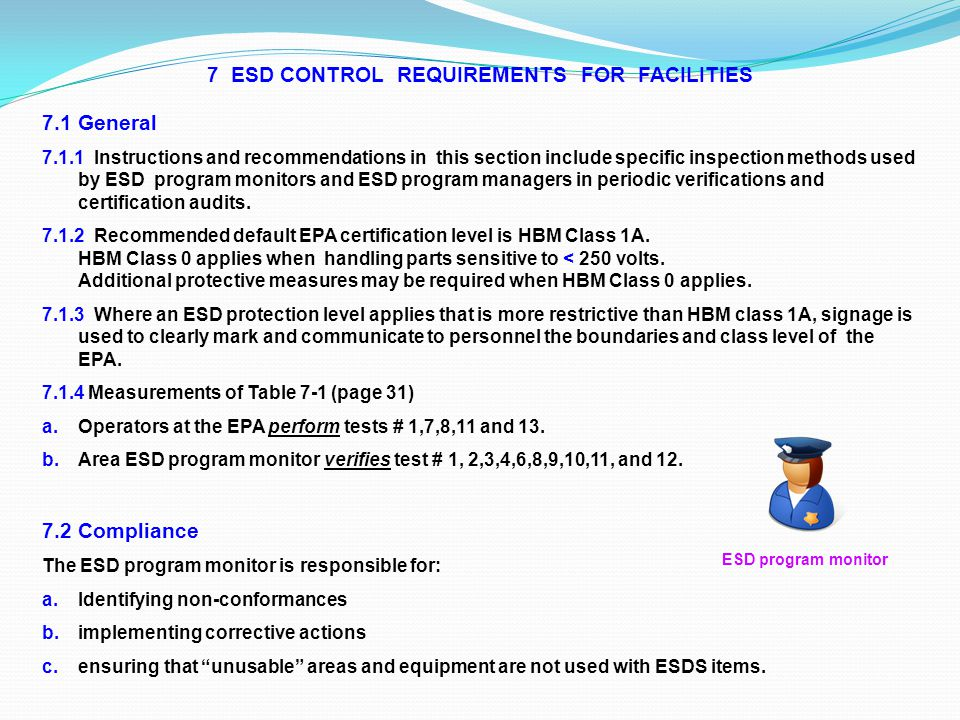 7 ESD CONTROL REQUIREMENTS FOR FACILITIES