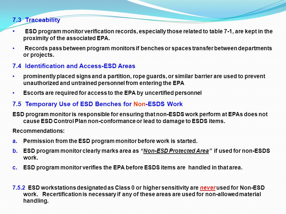7.4 Identification and Access-ESD Areas
