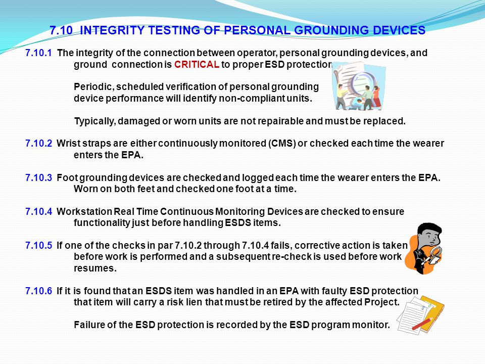 7.10 INTEGRITY TESTING OF PERSONAL GROUNDING DEVICES