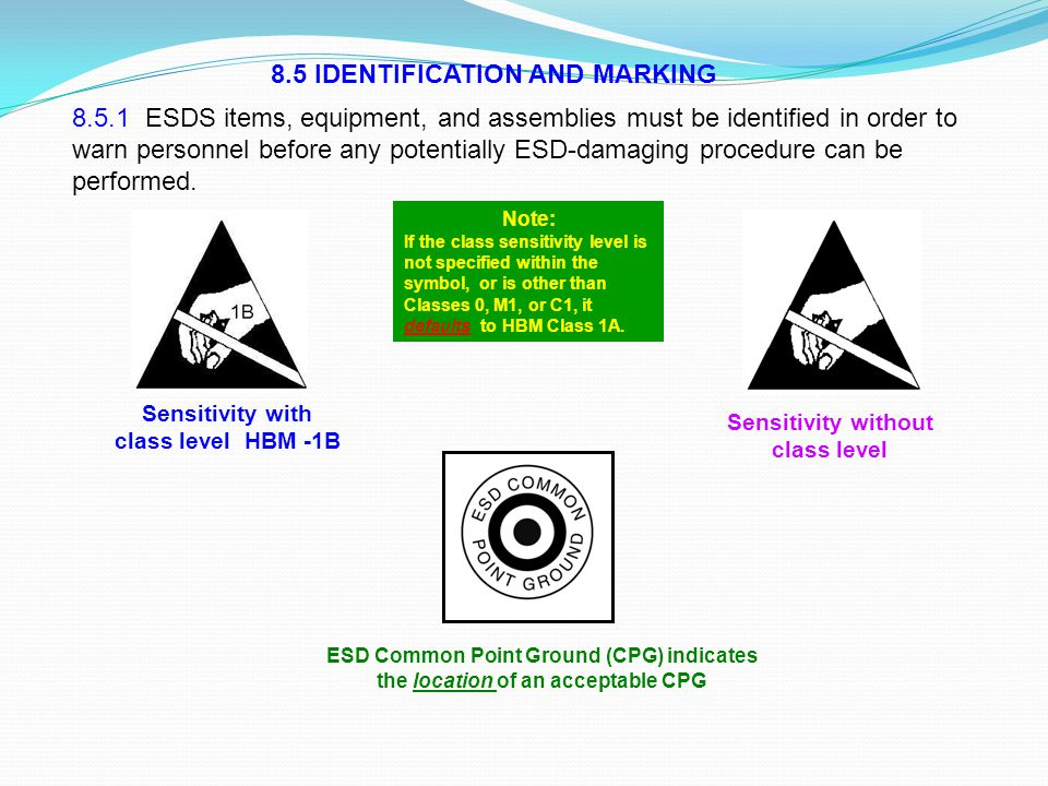 8.5 IDENTIFICATION AND MARKING