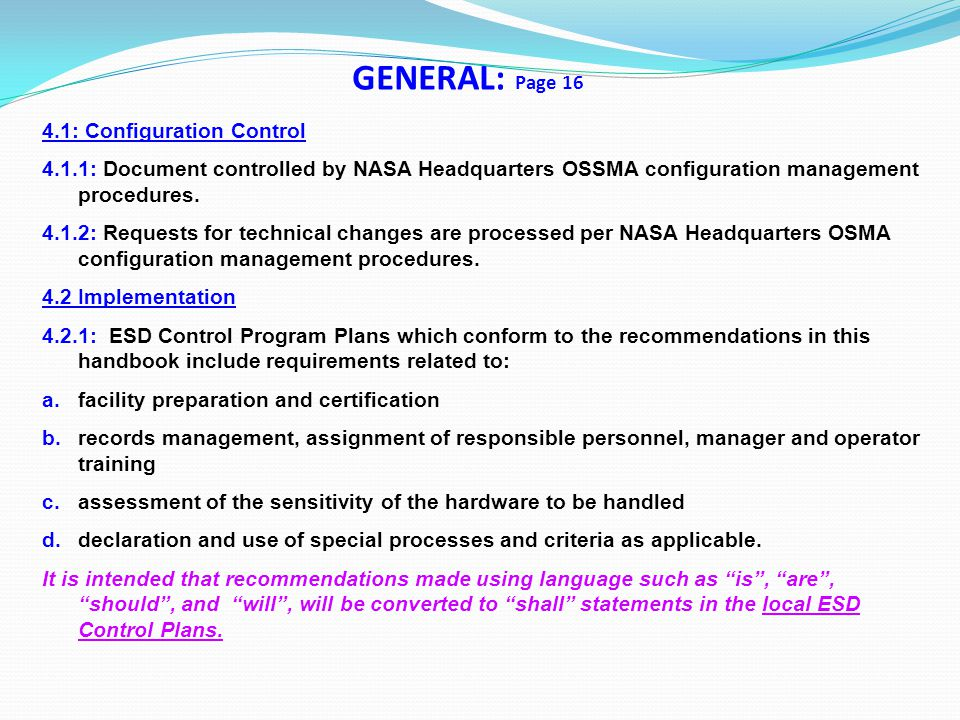 GENERAL: Page 16 4.1: Configuration Control