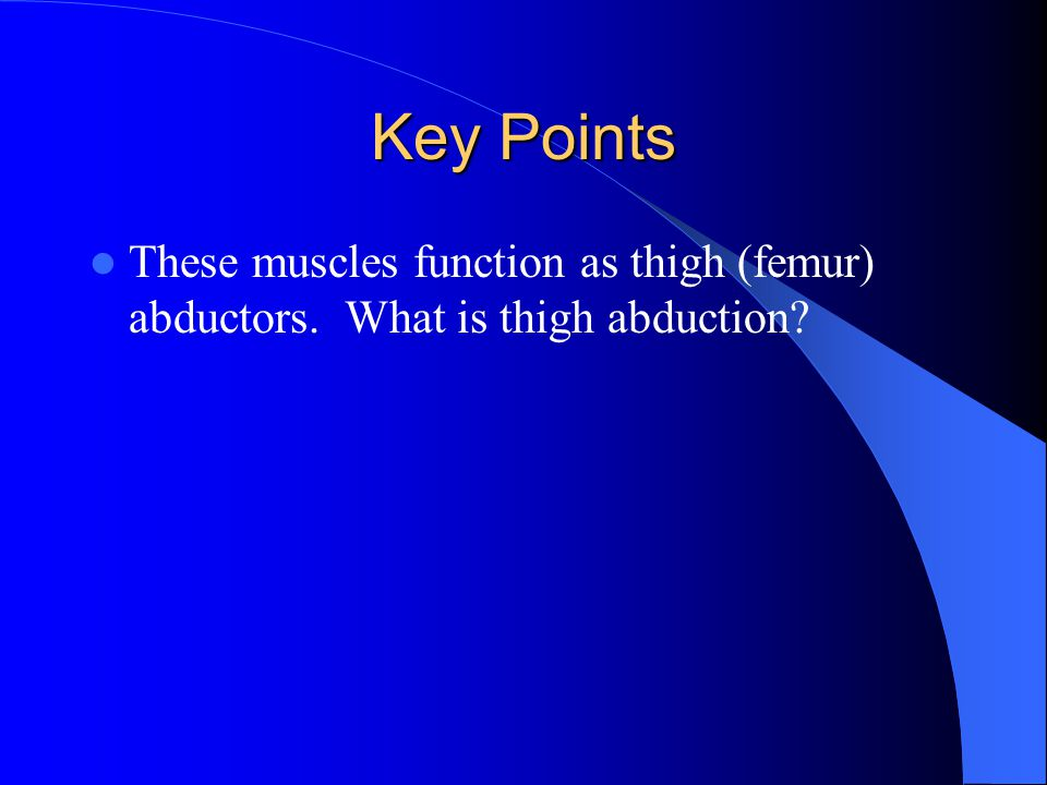 Key Points These muscles function as thigh (femur) abductors. What is thigh abduction