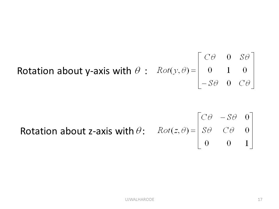 Rotation about y-axis with :