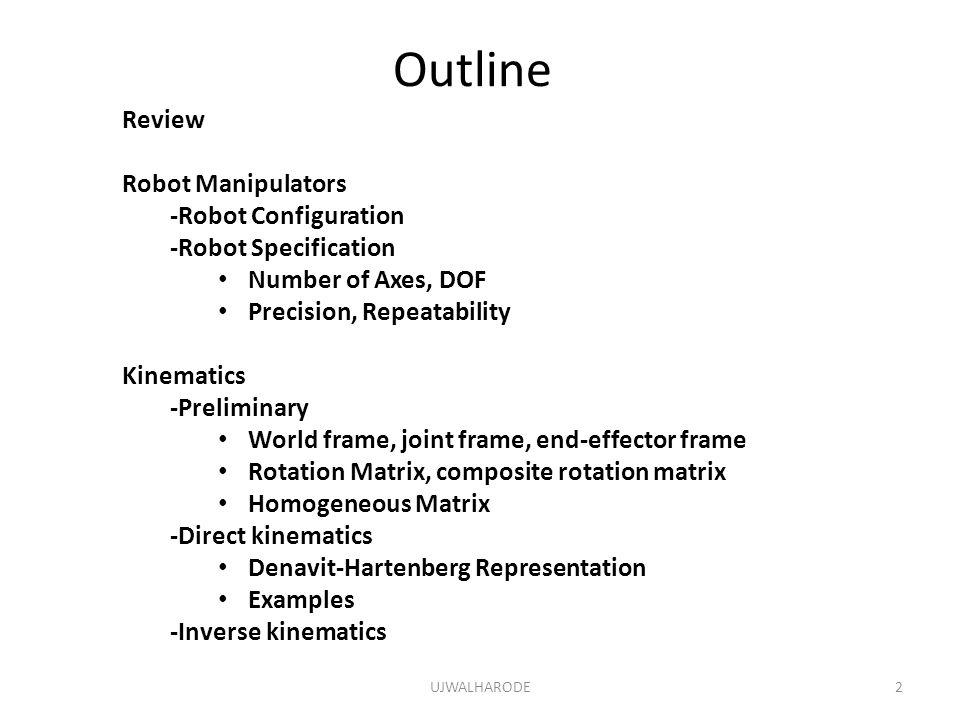 Outline Review Robot Manipulators -Robot Configuration