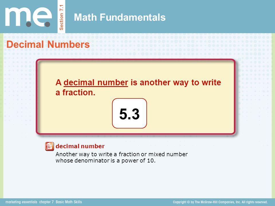 5.3 Math Fundamentals Decimal Numbers