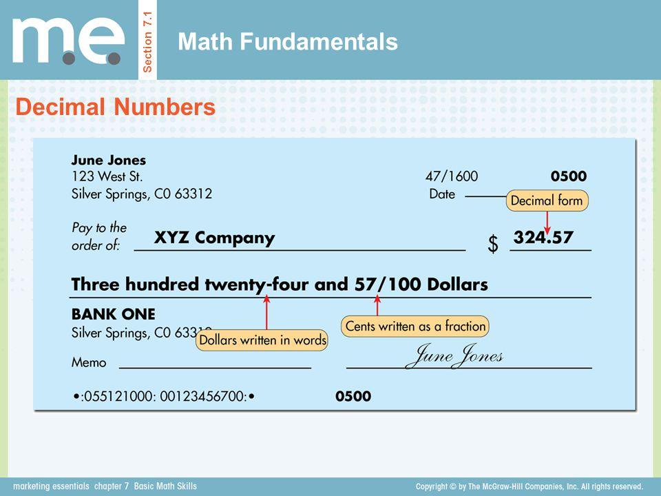 Math Fundamentals Section 7.1 Decimal Numbers