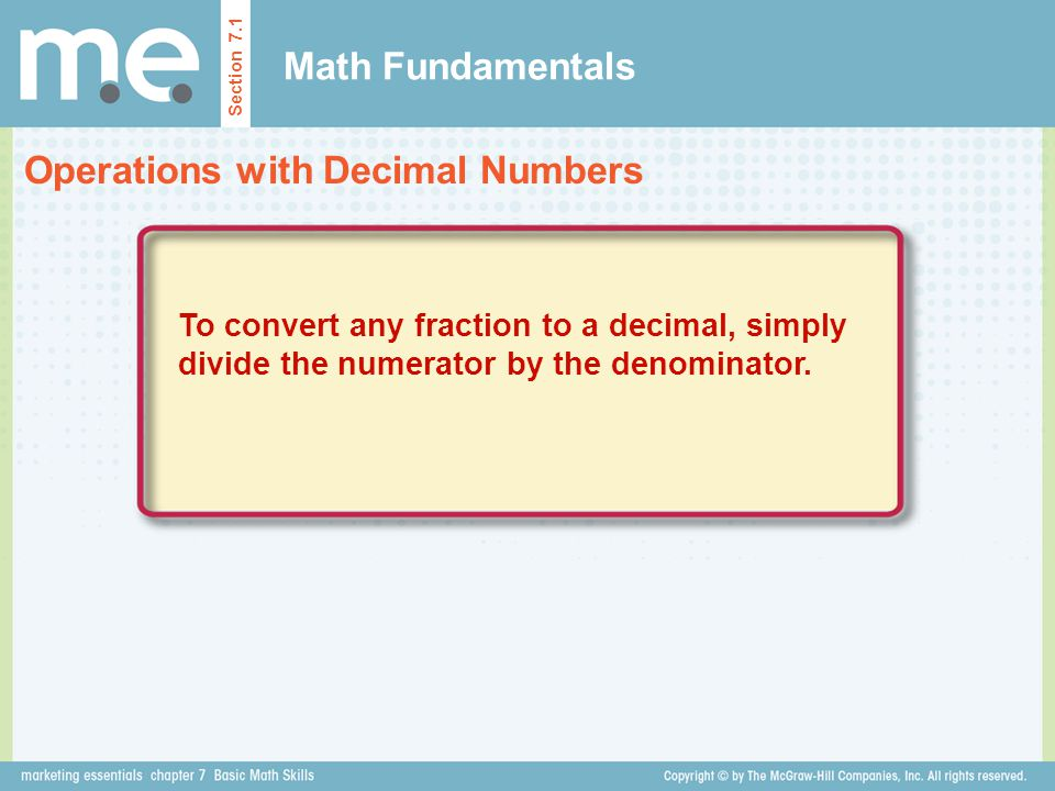Operations with Decimal Numbers