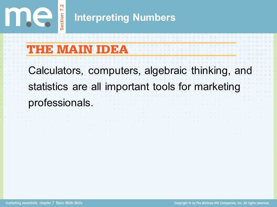 Interpreting Numbers Section 7.2.