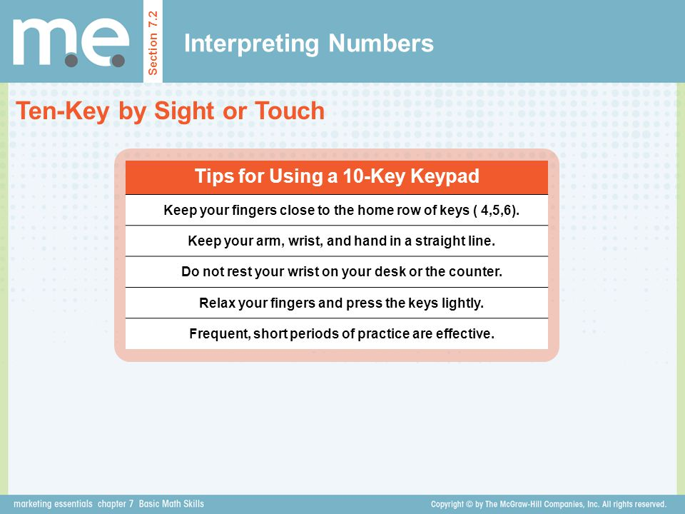 Ten-Key by Sight or Touch