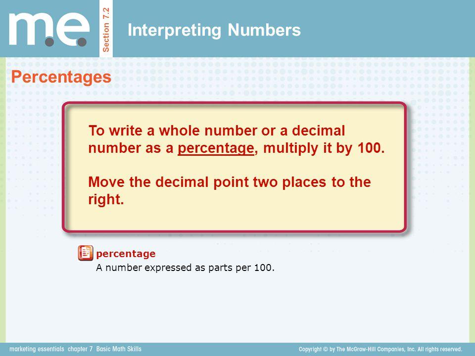 Interpreting Numbers Percentages