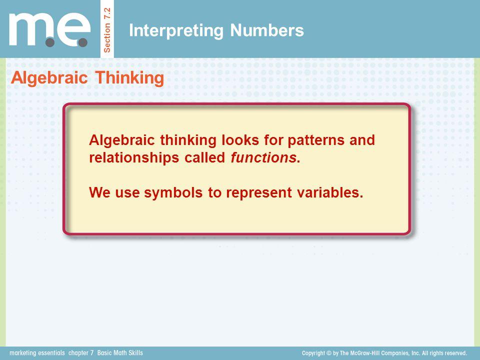 Interpreting Numbers Algebraic Thinking