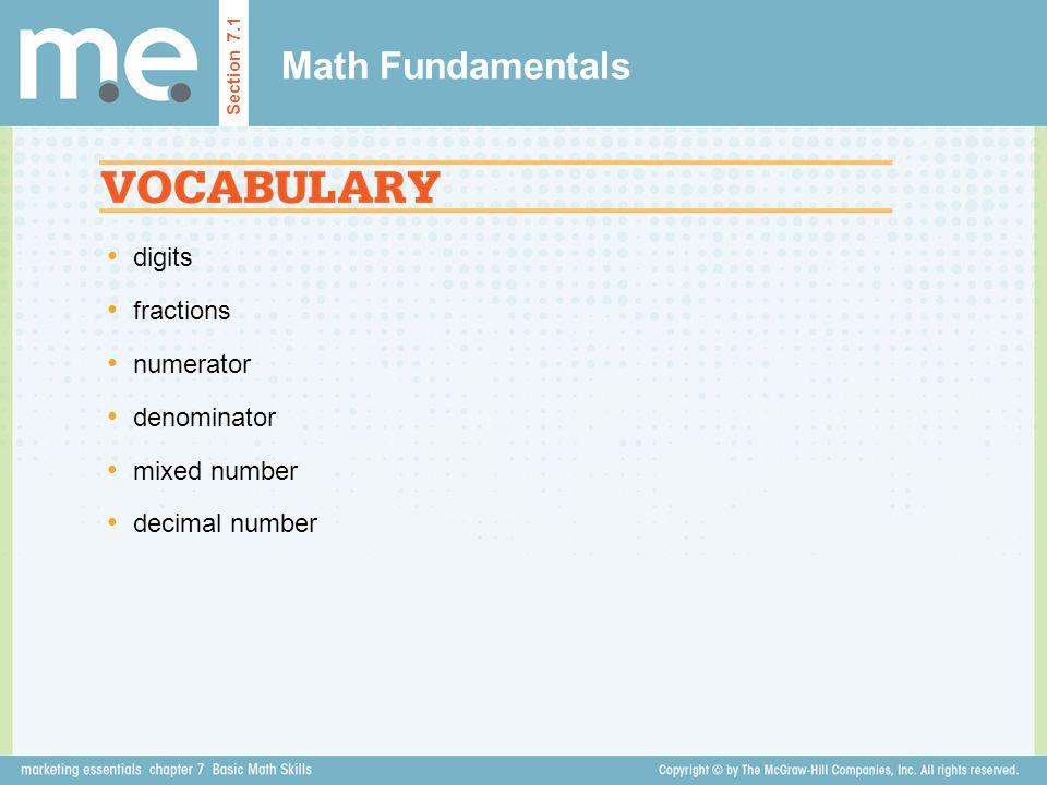 Math Fundamentals digits fractions numerator denominator mixed number