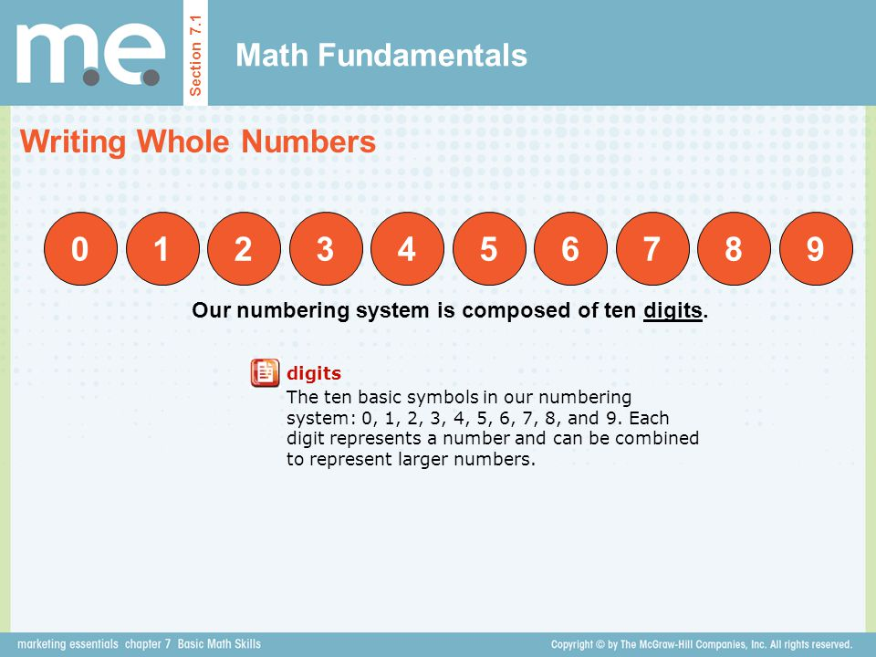 1 2 3 4 5 6 7 8 9 Math Fundamentals Writing Whole Numbers