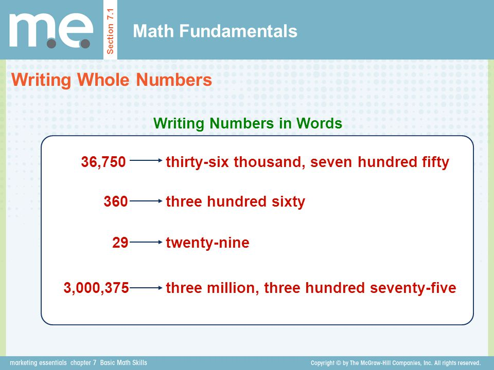 Math Fundamentals Writing Whole Numbers Writing Numbers in Words