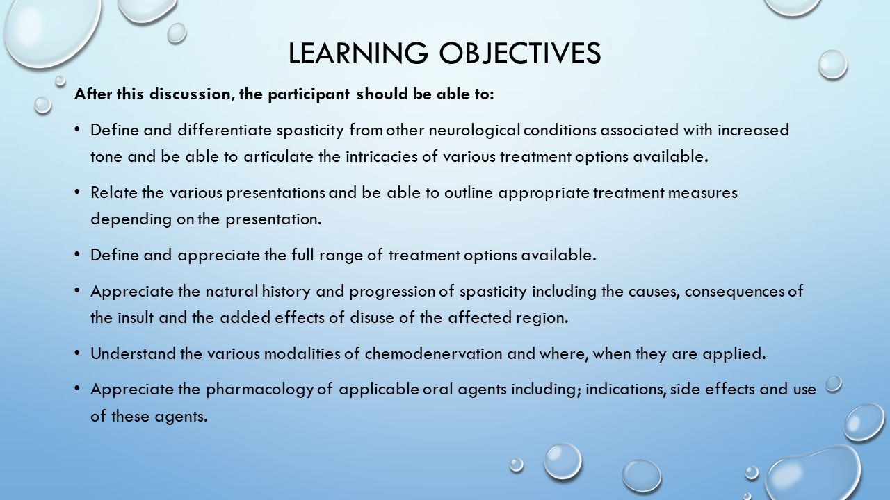 Learning Objectives After this discussion, the participant should be able to: