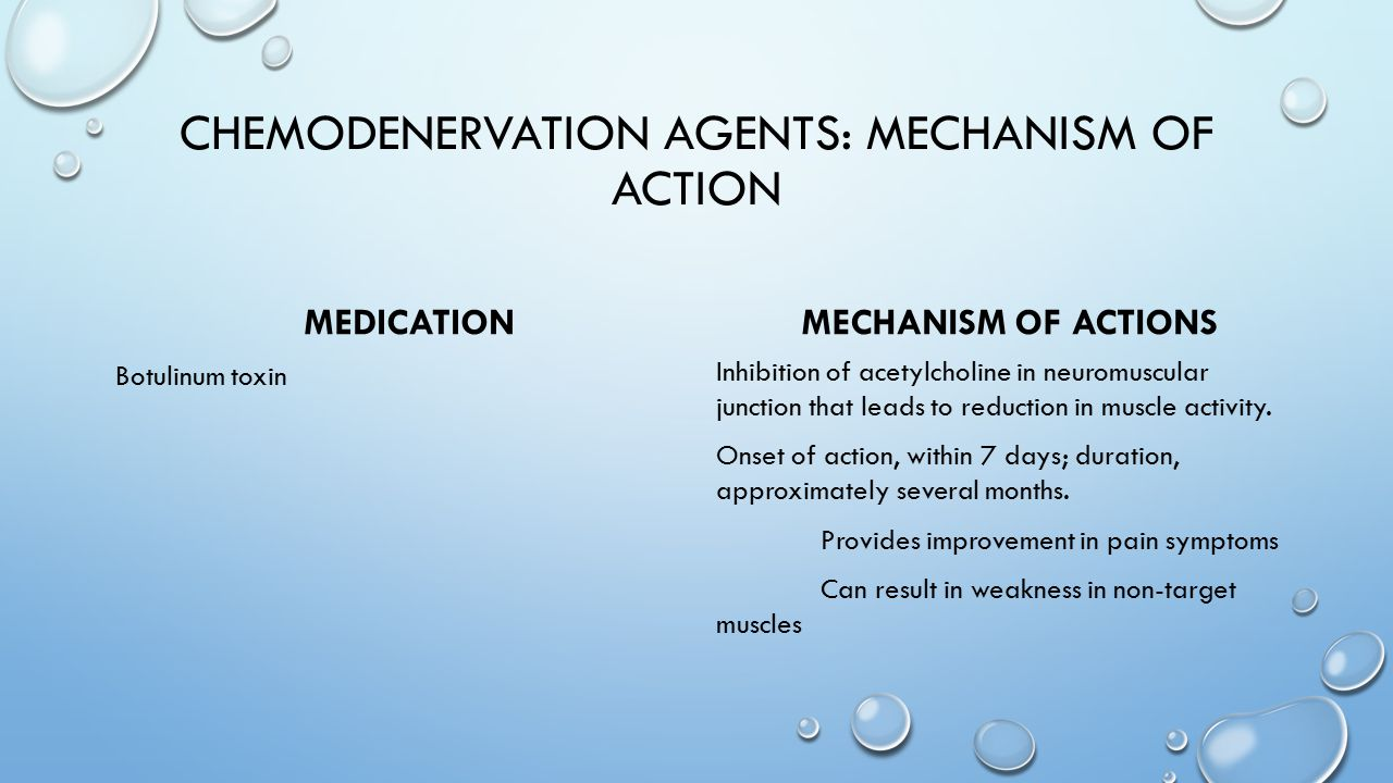 Chemodenervation agents: mechanism of action
