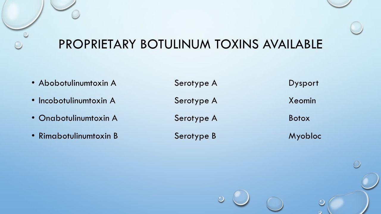 Proprietary botulinum toxins available