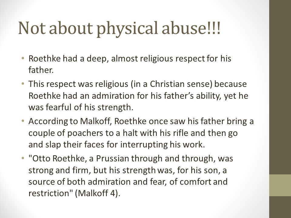Not about physical abuse!!!