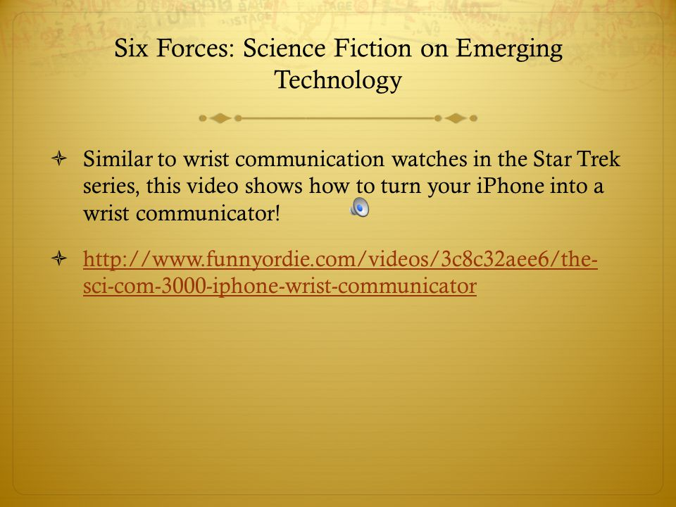 Six Forces: Science Fiction on Emerging Technology