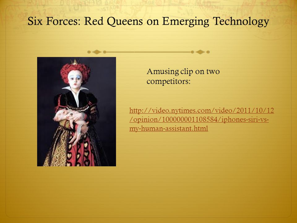 Six Forces: Red Queens on Emerging Technology