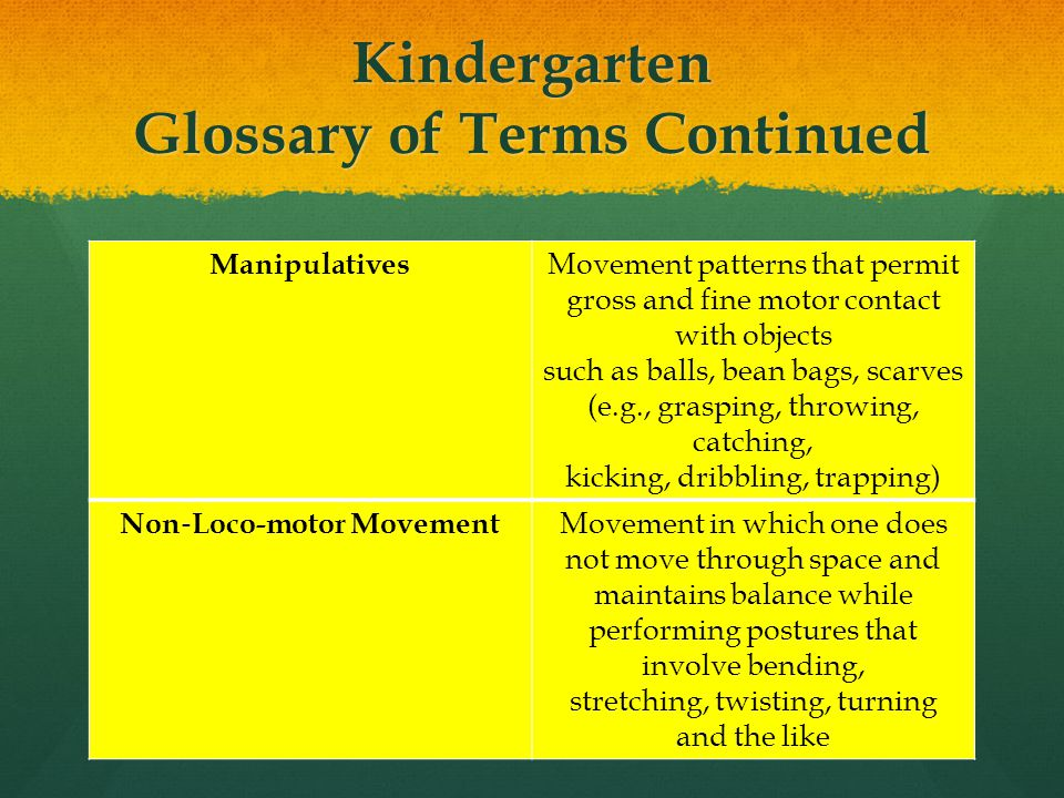 Kindergarten Glossary of Terms Continued