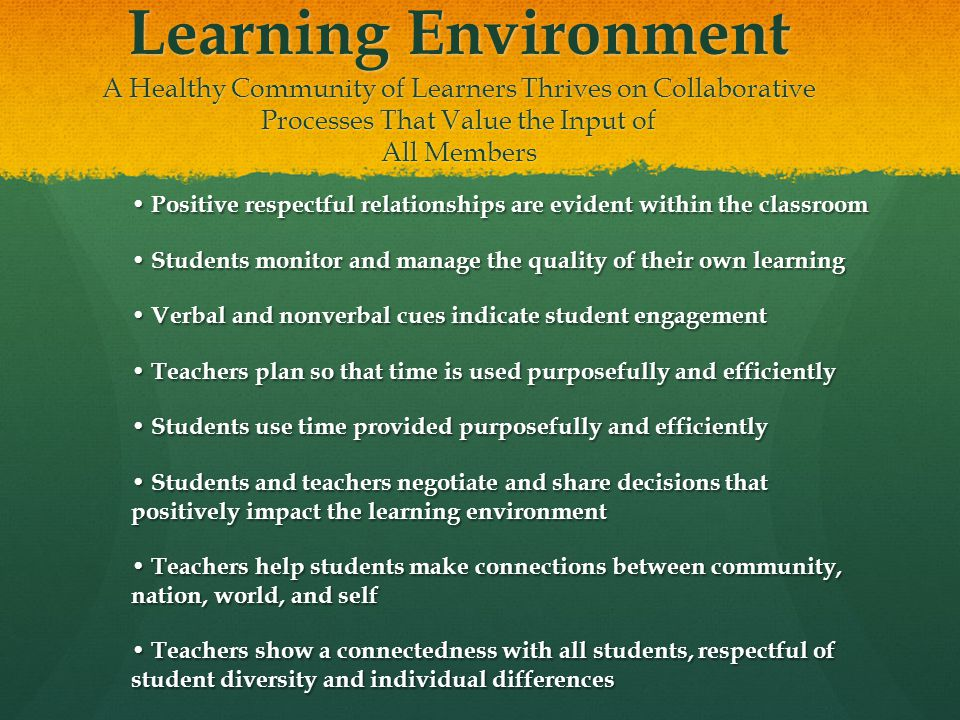 Learning Environment A Healthy Community of Learners Thrives on Collaborative Processes That Value the Input of All Members