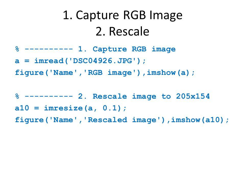 1. Capture RGB Image 2. Rescale