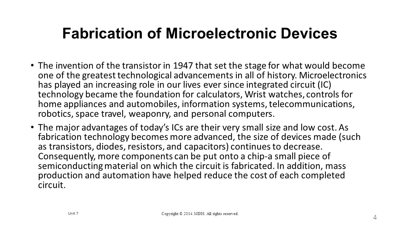 Fabrication of Microelectronic Devices