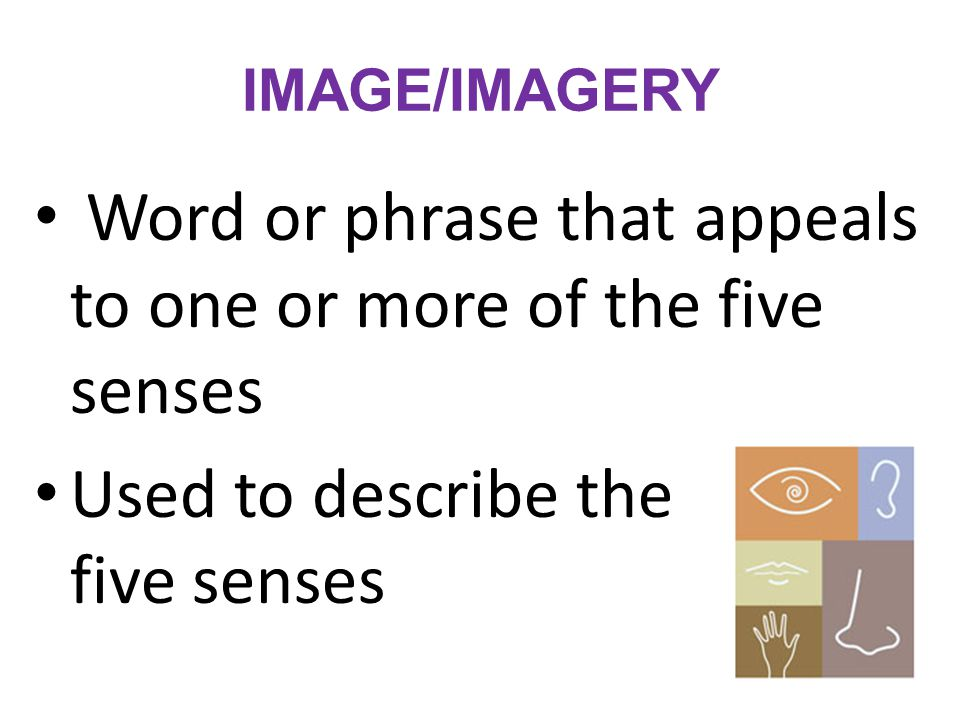 Word or phrase that appeals to one or more of the five senses