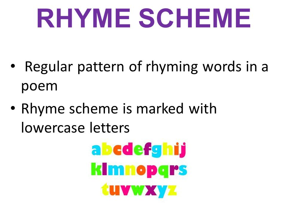 RHYME SCHEME Regular pattern of rhyming words in a poem