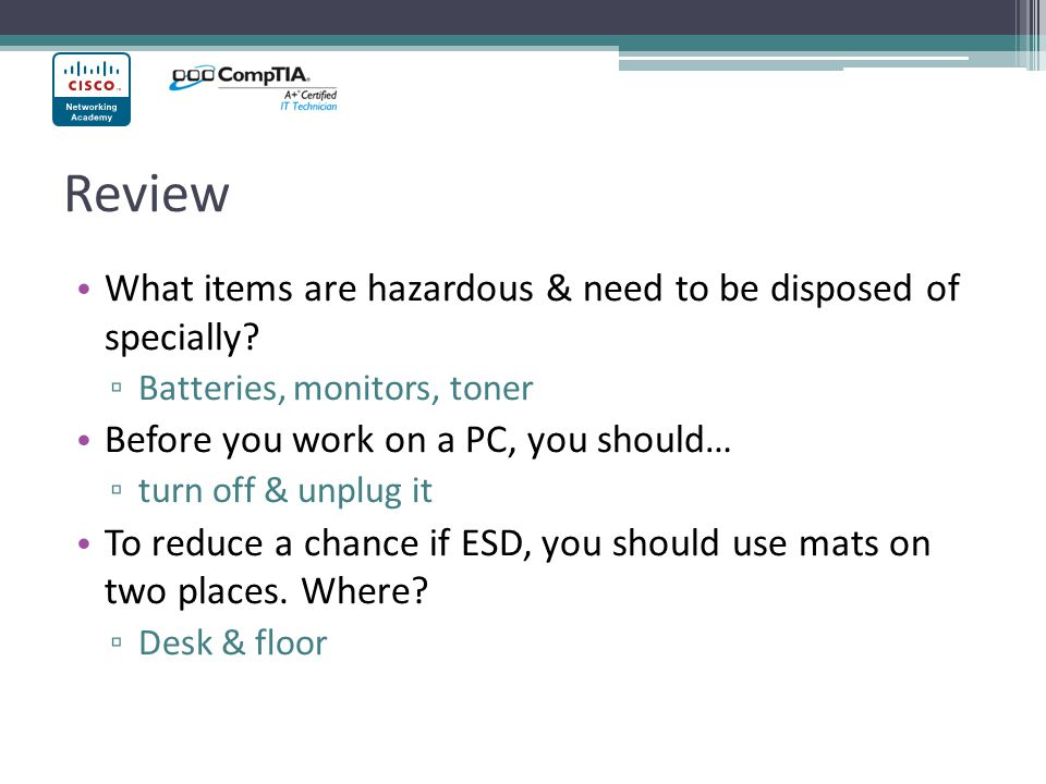 Review What items are hazardous & need to be disposed of specially