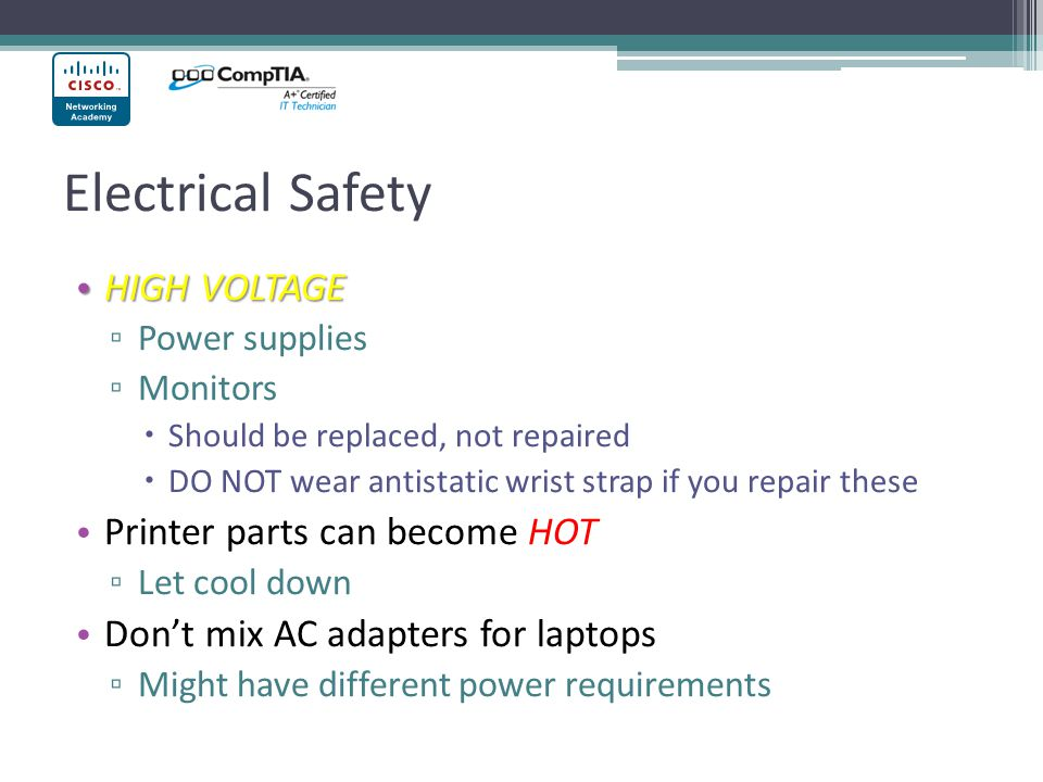 Electrical Safety HIGH VOLTAGE Printer parts can become HOT