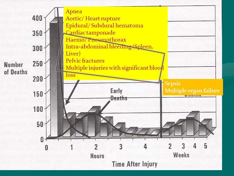 Apnea Aortic/ Heart rupture. Epidural/ Subdural hematoma. Cardiac tamponade. Haemo/ Pneumothorax.