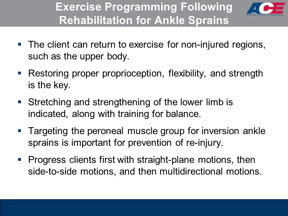Exercise Programming Following Rehabilitation for Ankle Sprains