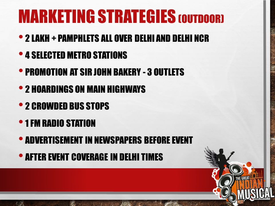 MARKETING STRATEGIES (OUTDOOR)