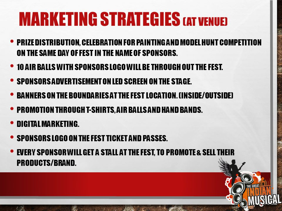 Marketing strategies (at venue)