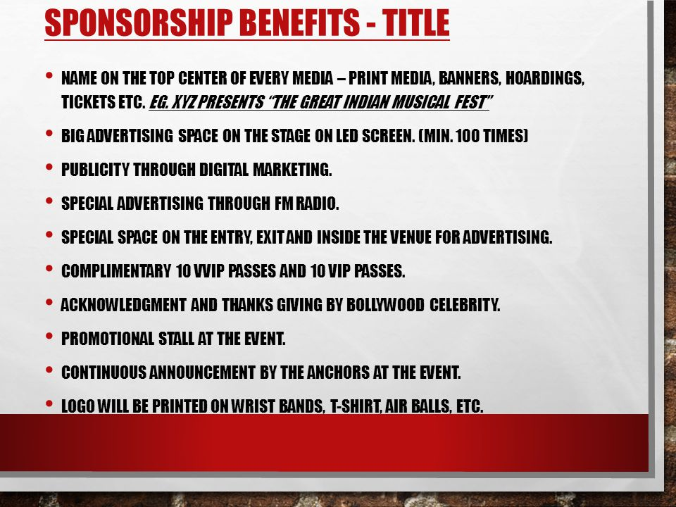 Sponsorship Benefits - Title
