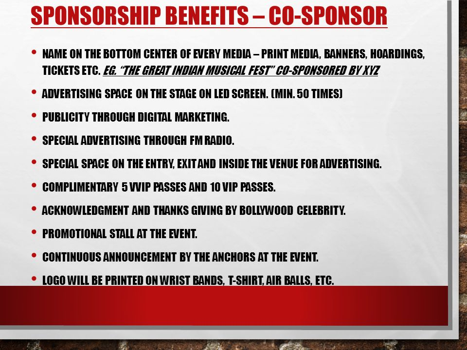 Sponsorship Benefits – Co-sponsor