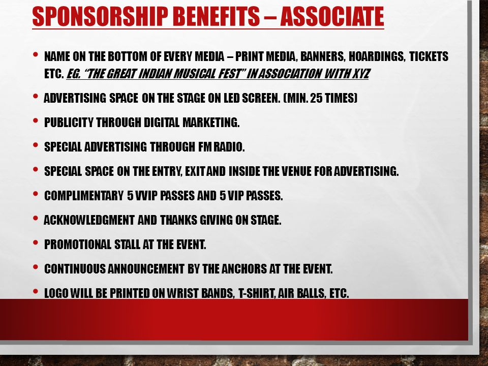 Sponsorship Benefits – Associate