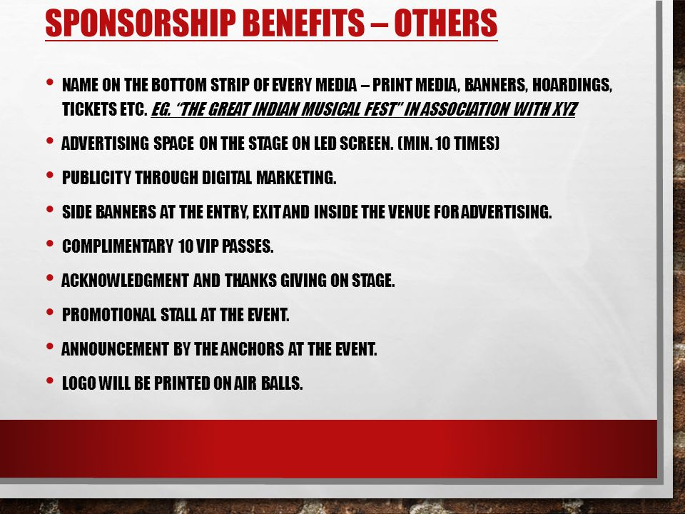 Sponsorship Benefits – others