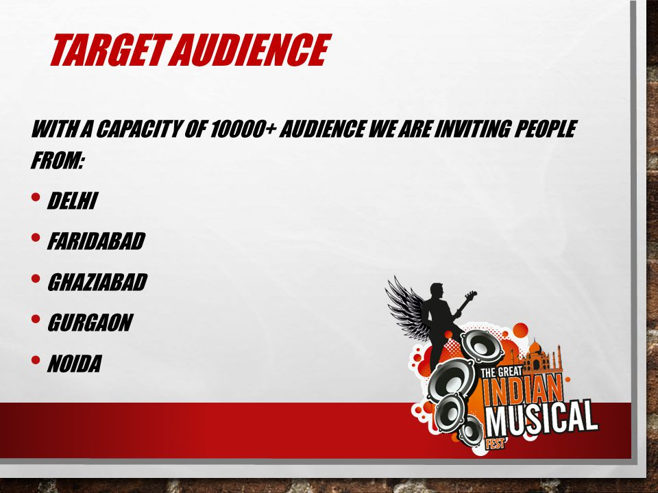 TARGET AUDIENCE WITH A CAPACITY OF 10000+ AUDIENCE WE ARE INVITING PEOPLE FROM: DELHI. FARIDABAD.