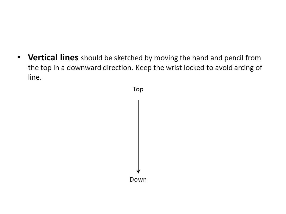 Vertical lines should be sketched by moving the hand and pencil from the top in a downward direction. Keep the wrist locked to avoid arcing of line.