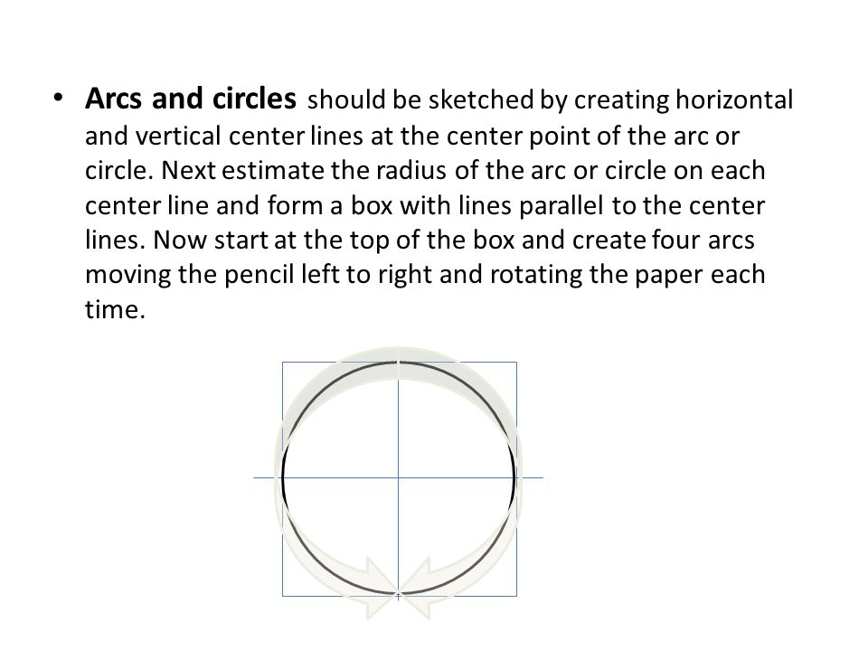 Arcs and circles should be sketched by creating horizontal and vertical center lines at the center point of the arc or circle.