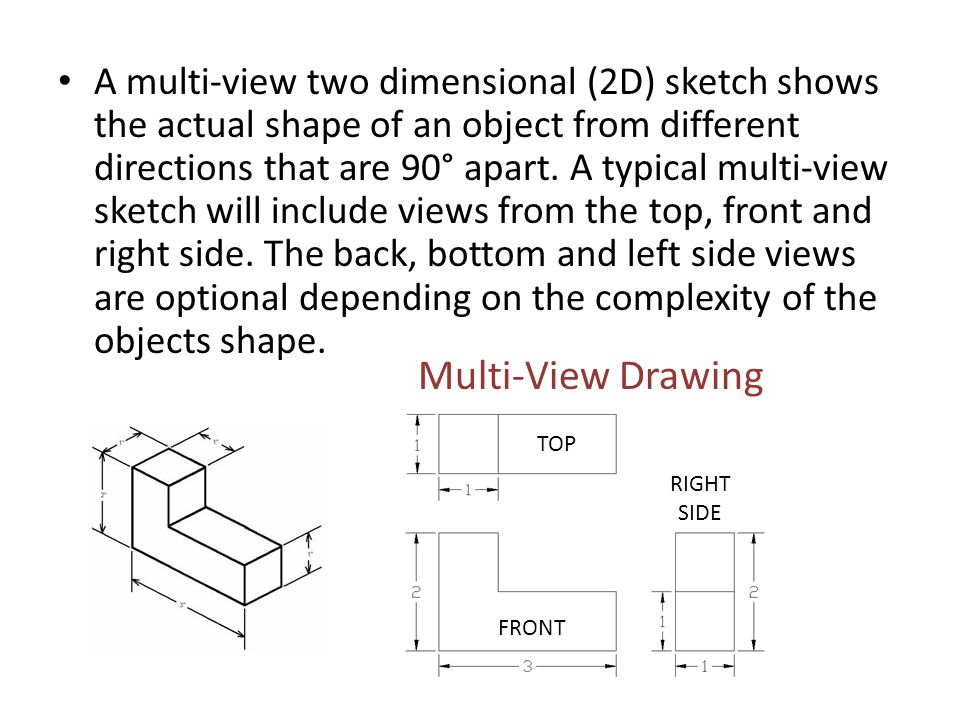 A multi-view two dimensional (2D) sketch shows the actual shape of an object from different directions that are 90° apart. A typical multi-view sketch will include views from the top, front and right side. The back, bottom and left side views are optional depending on the complexity of the objects shape.