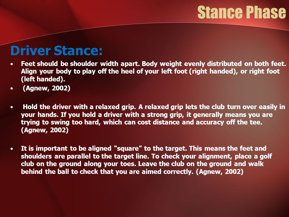 Stance Phase Driver Stance:
