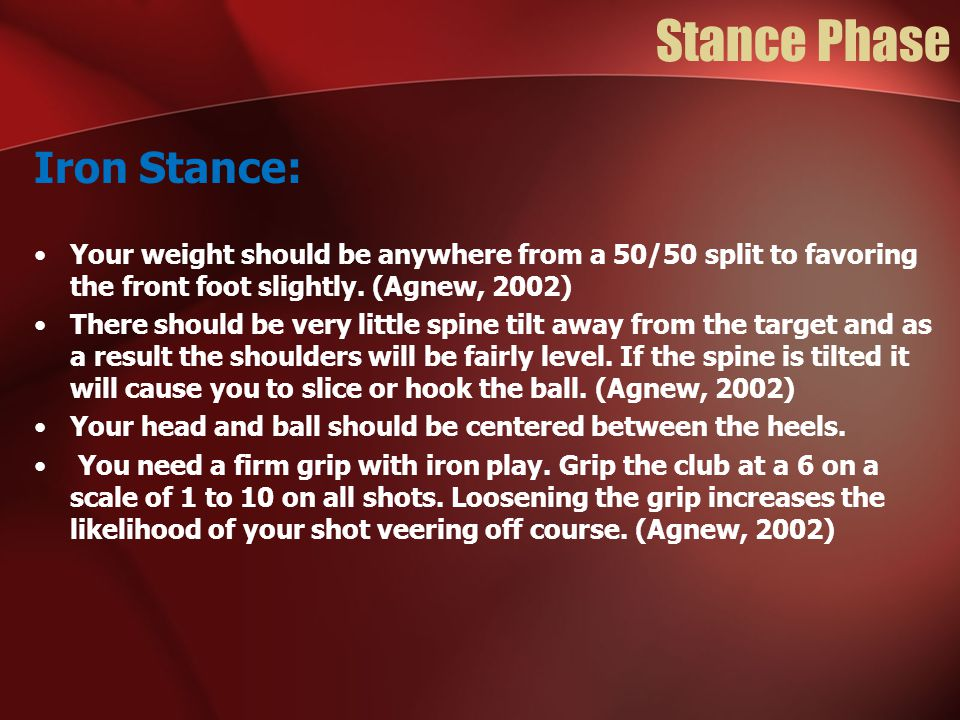 Stance Phase Iron Stance: