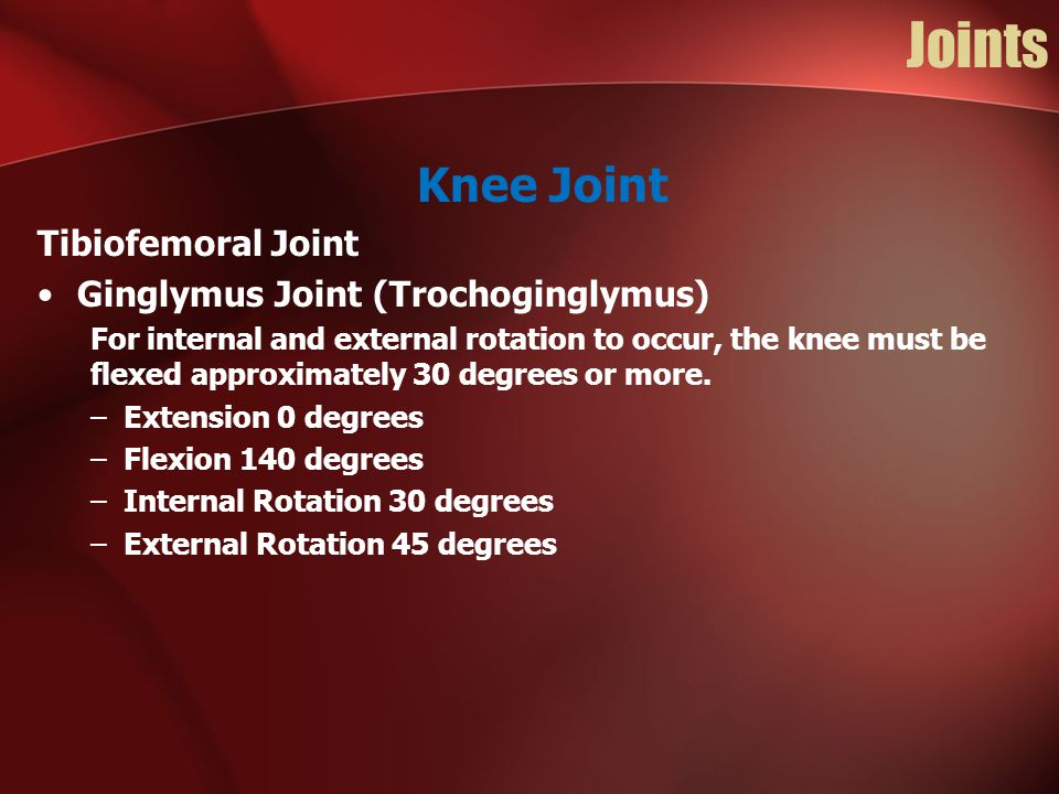 Joints Knee Joint Tibiofemoral Joint Ginglymus Joint (Trochoginglymus)
