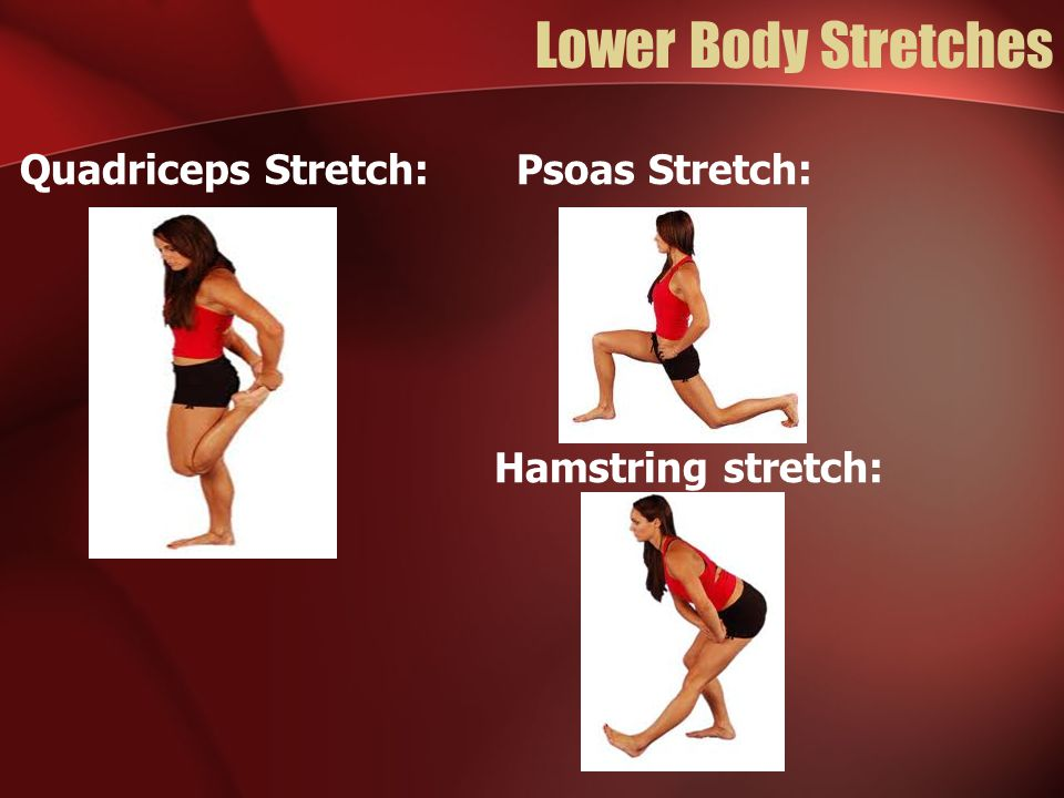Lower Body Stretches Quadriceps Stretch: Psoas Stretch: Hamstring stretch: