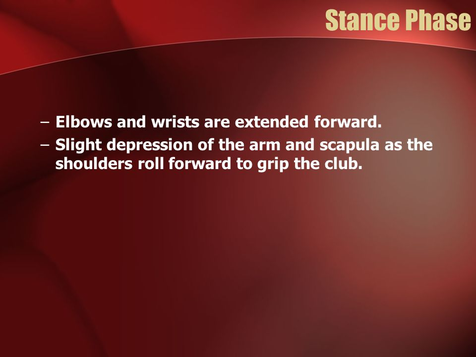 Stance Phase Elbows and wrists are extended forward.